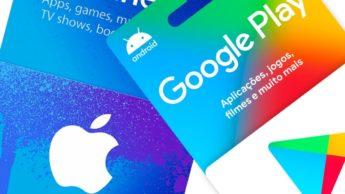 Imagem Google Play e App Store da Apple