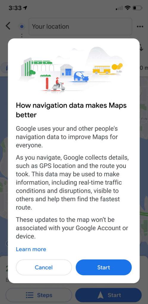 Google Maps dados notificação partilha