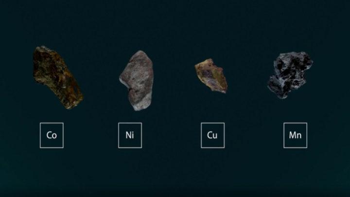 Imagem dos materiais usados nas baterias dos VE