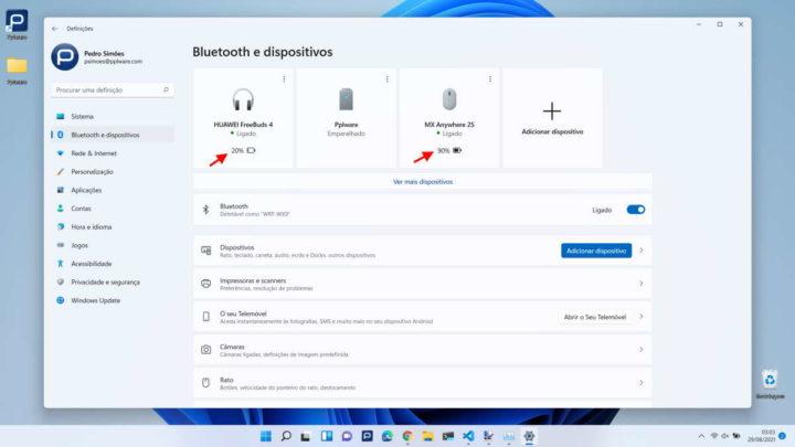 Windows 11 Bluetooth bateria dispositivo