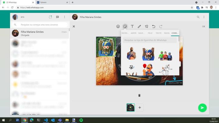 WhatsApp imagens web partilhar editor