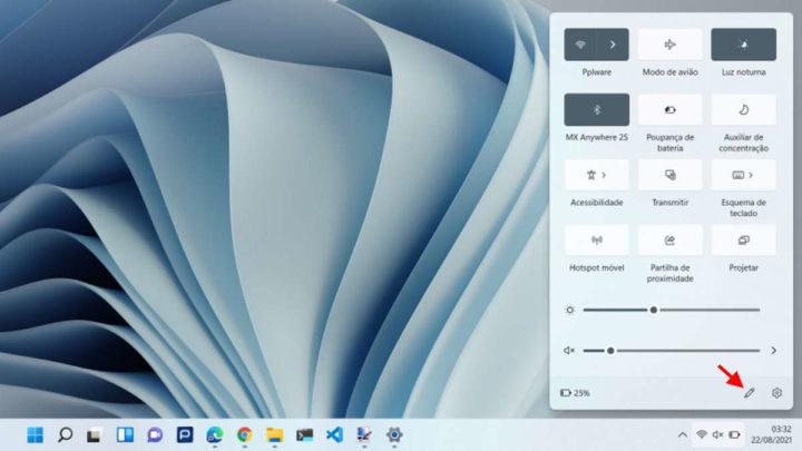 Windows 11 definições rápidas personalizar Microsoft