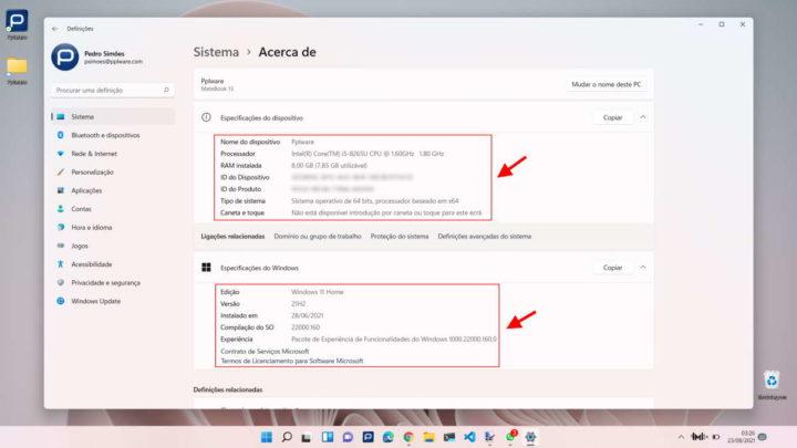 Windows 11 Microsoft PC dados informação