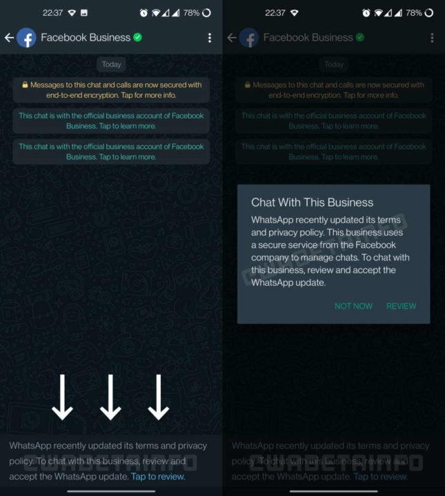 WhatsApp regras business Facebook facultativas