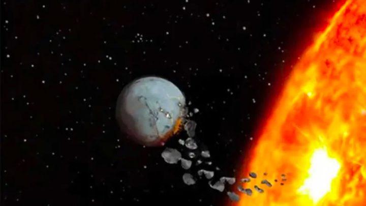 Ilustração de um planeta a ser devorado pela sua estrela