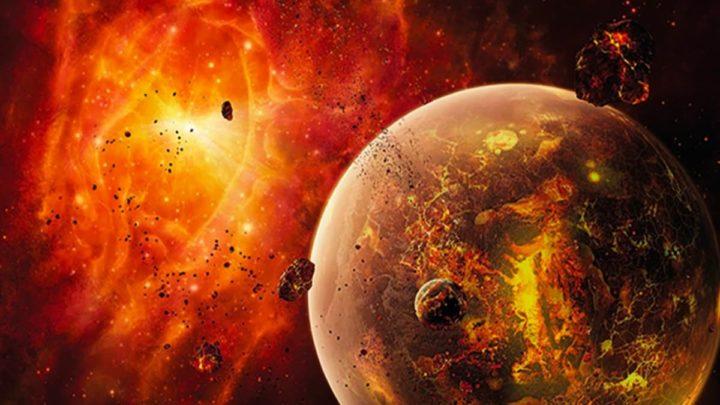 Ilustração da Terra a ser engolida pelo Sol
