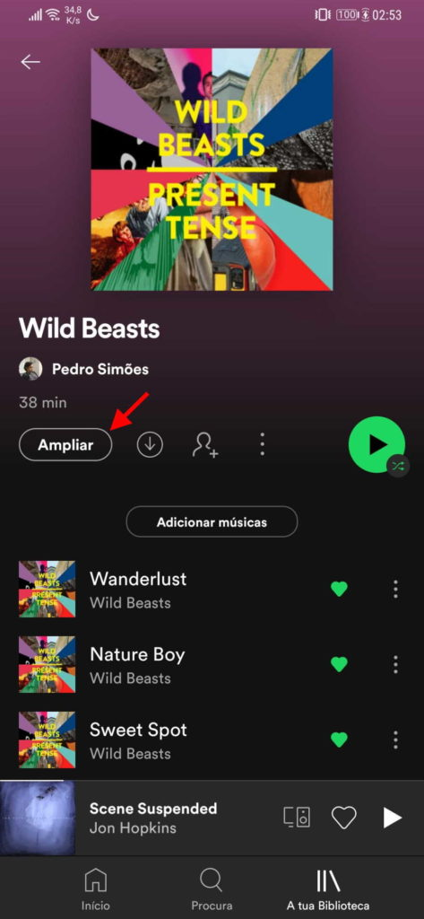 Spotify Ampliar música listas reprodução
