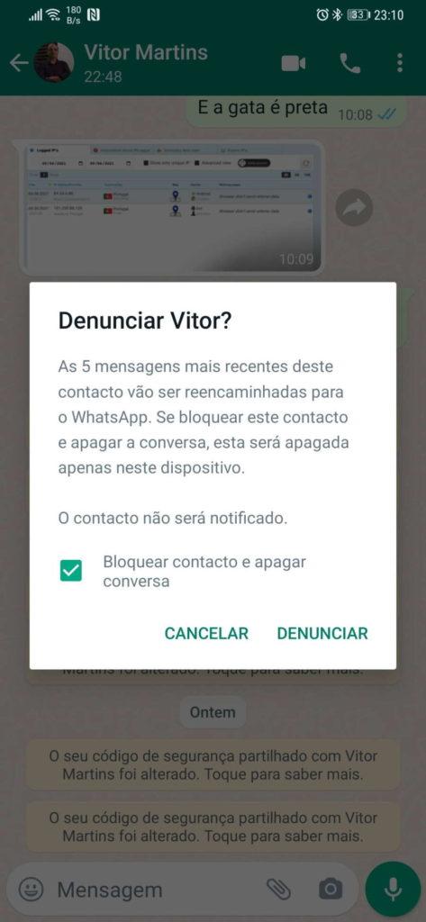 WhatsApp denunciar privacidade mensagens multi dispositivo