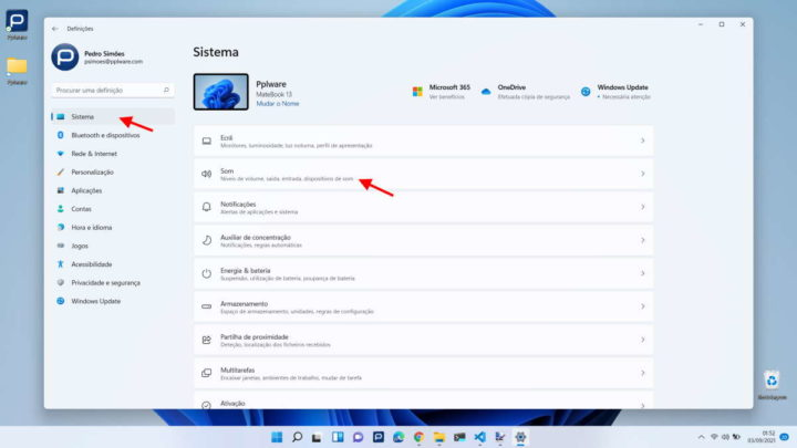 Windows 11 microfone altifalante Microsoft sistema