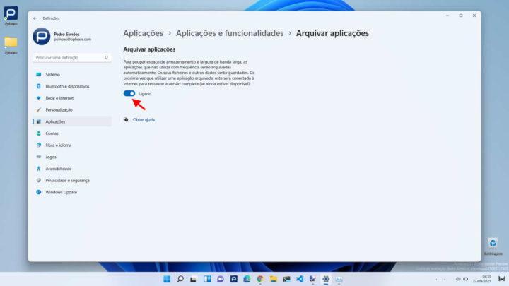 Windows 11 espaço arquivadas apps armazenamento