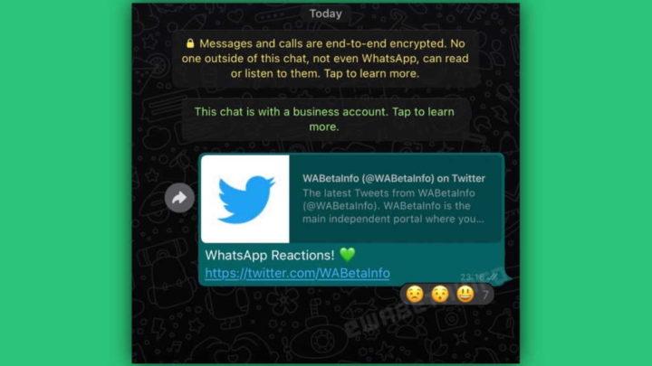 WhatsApp reações mensagens testes