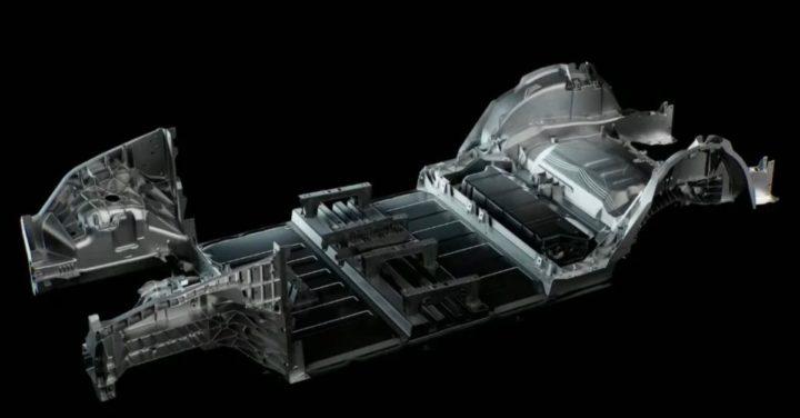 Tesla chassis image made at Giga Press