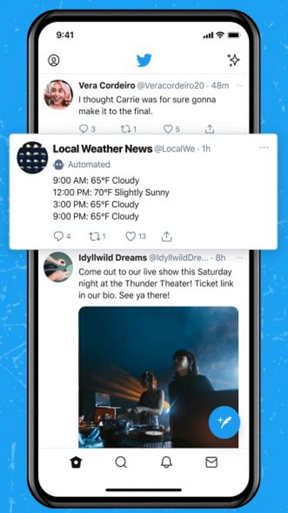 Imagem conta automatizada do Twitter