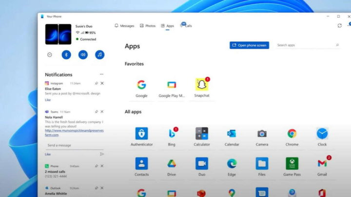 Your Phone Windows 11 app novidades interface