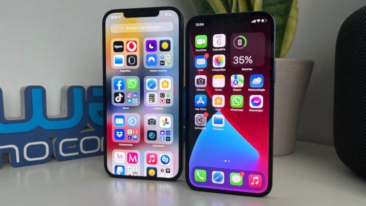 Imagem iOS 15 versus iOS 14