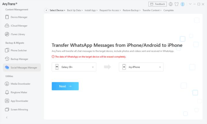 Como transferir mensagens WhatsApp do Android para o iPhone