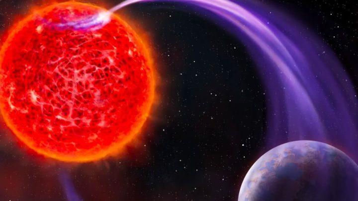 Ilustração de planetas denunciados pelas suas auroras