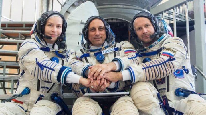 Yulia Peresild, Anton Shkaplerov e Klim Shipenko da Rússia
