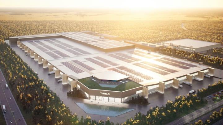 Imagem Gigafactory 4, fábrica da Tesla em Berlim, na Alemanha