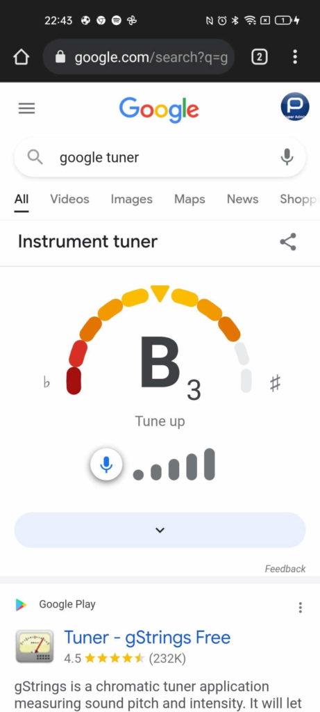 Google guitarra afinar browser apps