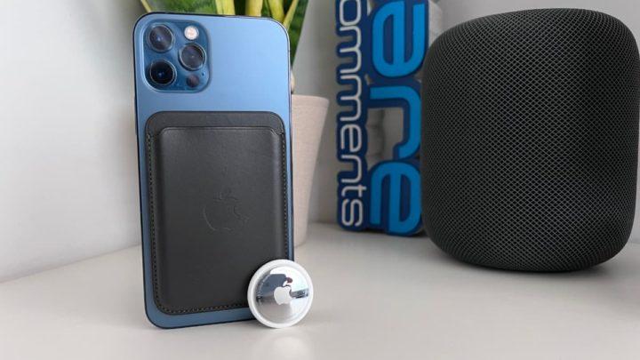 Imagem iPhone 12 Pro com carteira MagSafe e AirTag