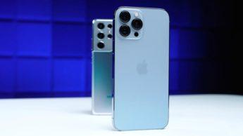 Imgem iPhone 13 pro Max versus Samsung Galaxy S21 Ultra