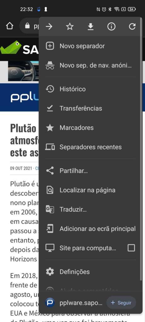 Chrome Android Google browser notícias
