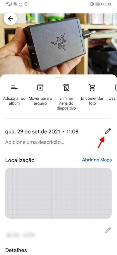 Google Photos data hora fotografia