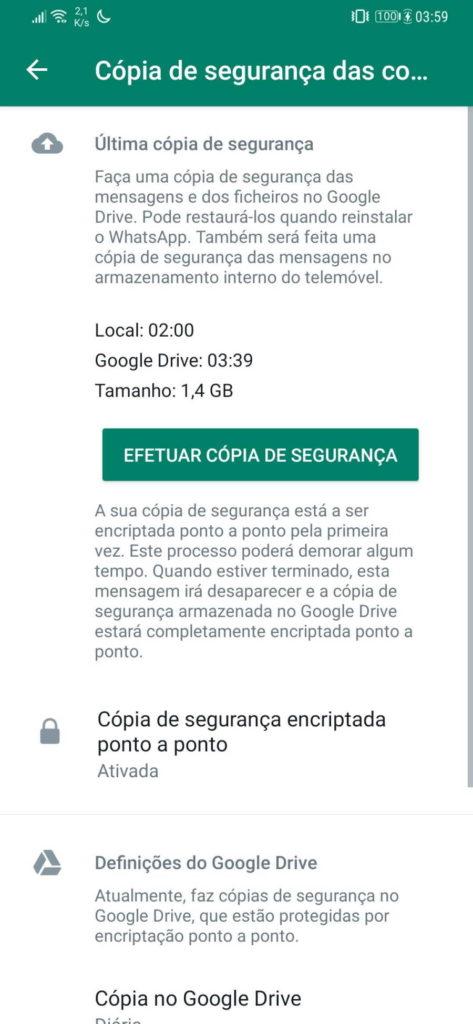 WhatsApp cifrar cópias segurança Facebook