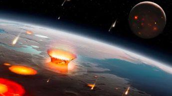 Olustração de asteroides contra a Terra primitiva
